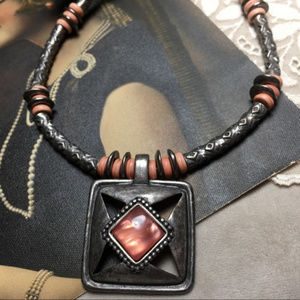 Metal and pink beaded fashion or western necklace